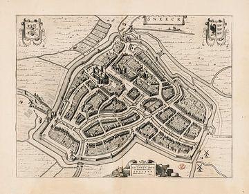 Oude kaart van Sneek, van omstreeks 1652. van Gert Hilbink
