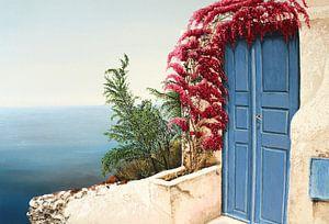 Blaue Tür Oia, Santorin von Russell Hinckley