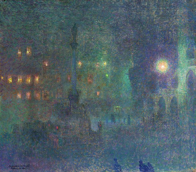 Munich la nuit (Marienplatz), Charles Johann Palmie, 1907 sur Atelier Liesjes