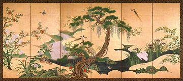 Vogels en bloemen van lente en zomer, Kanō Einō