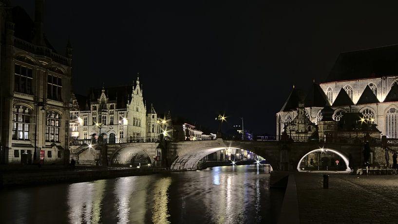 Sint-Michielsbrug bij nacht in Gent van Kristof Lauwers