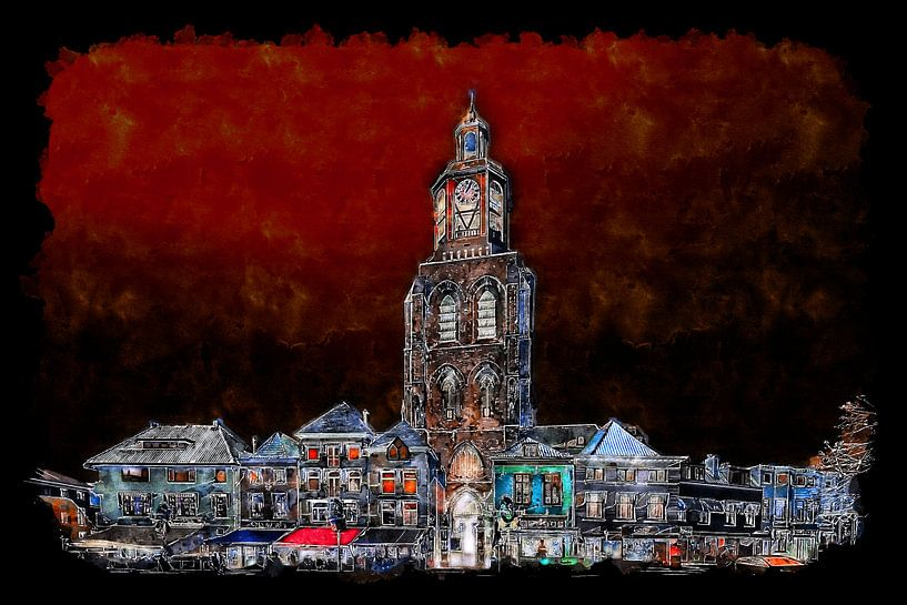 Der nächtliche Pfeffertopf auf dem Grote Markt in Bergen op Zoom (Aquarell) von Art by Jeronimo
