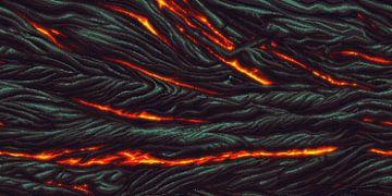 Magma Muur (PIXEL ART) van Marco Willemsen