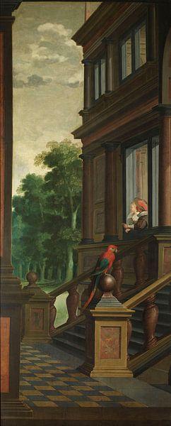 Zevendelige kamerbeschildering: Een buitentrap, Dirck van Delen van Meesterlijcke Meesters