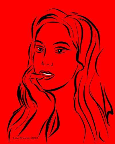 Portret van een vrouw op rode achtergrond van Lida Bruinen