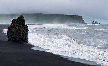 Arnardrangur auf dem schwarzen Sandstrand , Island von Daan Kloeg