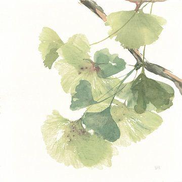Gingko-Blätter II auf Weiß, Chris Paschke von Wild Apple