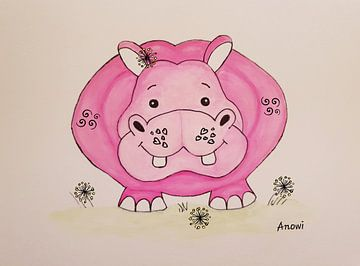 Nijlpaard - happy hippo van Iwona Sdunek alias ANOWI