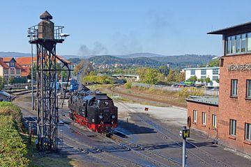 Stoomlocomotief van de Harz smalspoorwegen op het station van Wernigerode van t.ART