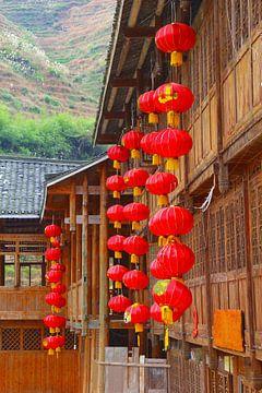 Rode Chinese lampionnen van Inge Hogenbijl