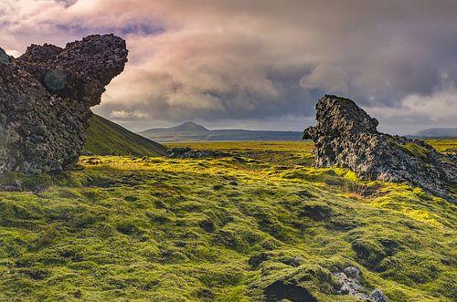 IJsland; land van wolken, bergen, zon en mos