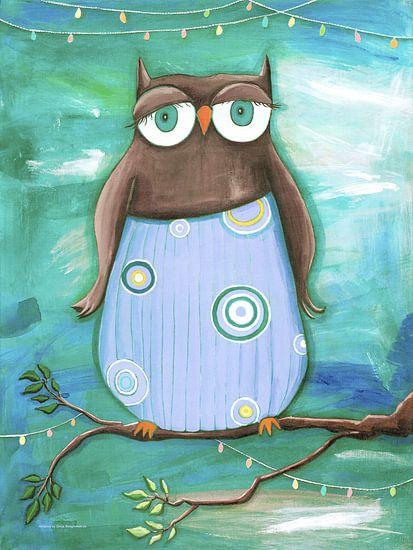 Uilen Vader - Schilderij voor Kinderen van  Atelier BuntePunkt