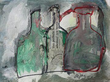 Flessen (met groen) von Leo de Jong