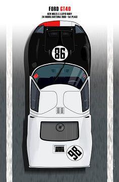 Ken Miles + Lloyd Ruby GT40, Daytona 66 van Theodor Decker