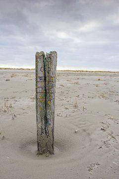Strandpaal op de Balg, strand van Waddeneiland en Nationaal Park Schiermonnikoog. van