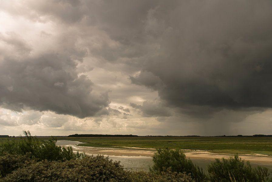 Zware regenval over natuurgebied Het Zwin van Edwin van Amstel