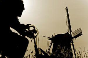 Fietser en windmolen