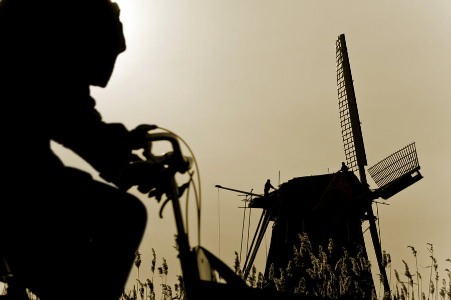 Fietser en windmolen van Robert van Willigenburg
