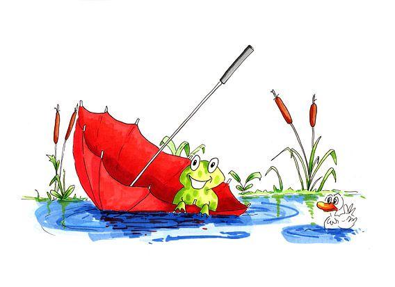 Illustratie van kleine kikker drijvend op het water