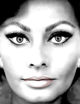 Sophia Loren italiaanse actrice zwart/wit van sarp demirel