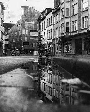 Reflectie in een plas - Antwerpen von Perry Dolmans