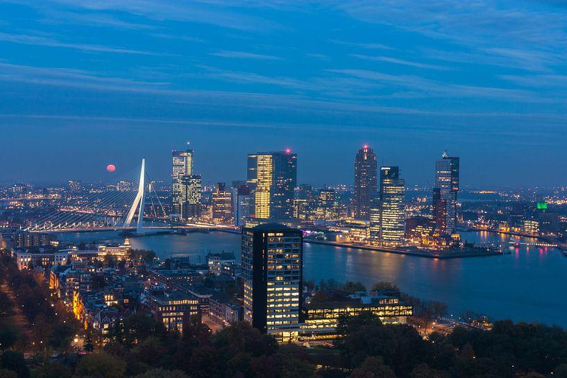 Rotterdam Kop van Zuid in the blue hour van Ilya Korzelius