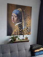 Klantfoto: Meisje met de parel  van Lia Morcus, op canvas