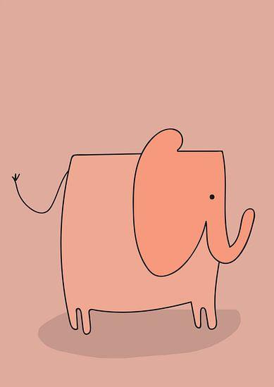 Roze olifant illustratie  van Charlotte Hortensius