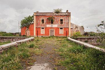 Bâtiment orange envahi par la végétation
