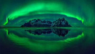 Stokksnes aurora panorama van