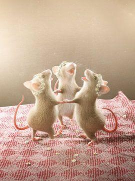 Drei Mäuse tanzen auf dem Tisch von Torsten Lass