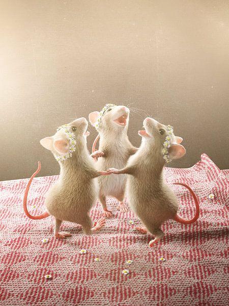 Drei Mäuse tanzen auf dem Tisch van Torsten Lass