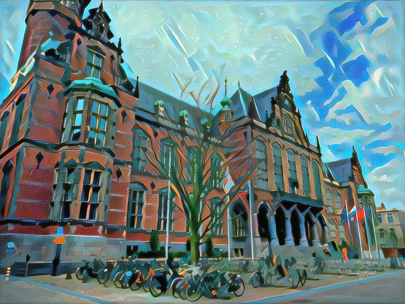 Modern schilderij Academiegebouw Groningen van Slimme Kunst.nl