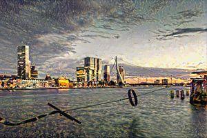 Stijlvol Schilderij Rotterdam: Ruige Impressie van de maas en skyline Rotterdam