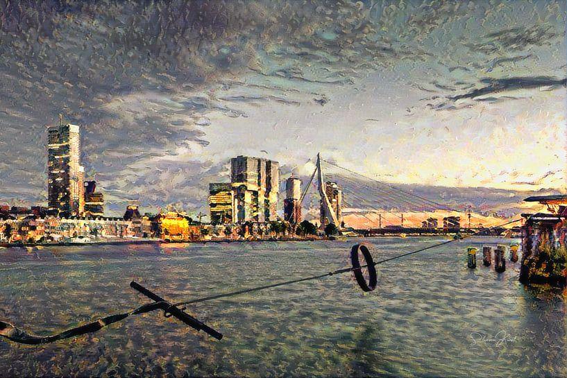 Stijlvol Schilderij Rotterdam: Ruige Impressie van de maas en skyline Rotterdam van Slimme Kunst.nl