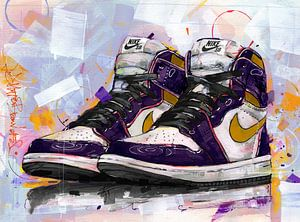"""Air Jordan 1 SB """"L.A. to Chicago"""" schilderij van Jos Hoppenbrouwers"""