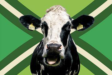 Portret van een koe met Achterhoekse vlag van