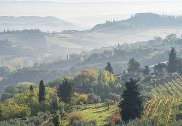 Nevel landschap Toscane van Marcel van Balken