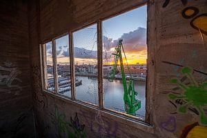 Betonwerk bei Sonnenuntergang von Siebe Taeleman