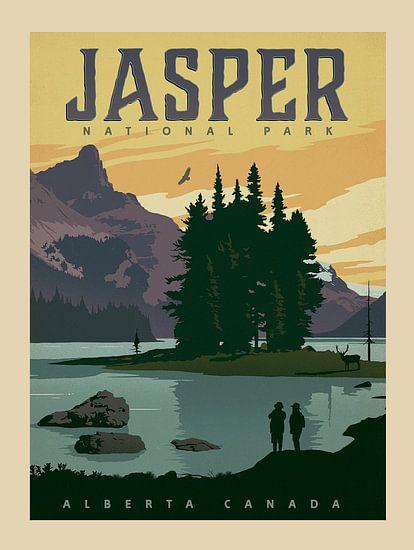 Oude poster van Jasper National Park