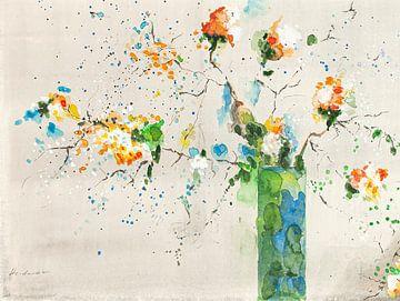 Gelber Blumenstrauß in blauer Vase von Klaus Heidecker