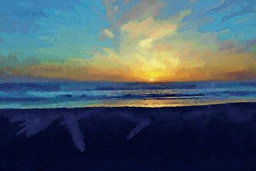 Zonsondergang - Zee - Kust - Strand - Horizon - Zonsopkomst - Abstract - Schilderij