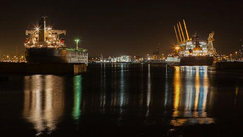 Schepen in de Rotterdamse Waalhaven van