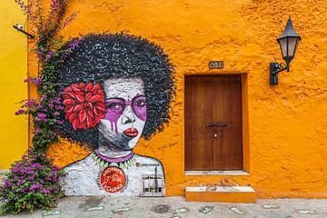 Wandmalerei in Cartagena, Kolumbien von Paul de Roos