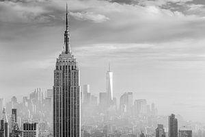 Lower Manhattan view in a misty day van