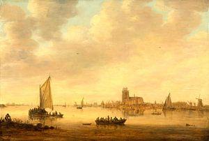 Gezicht op Dordrecht vanuit de Dordtse Kil, Jan van Goyen van