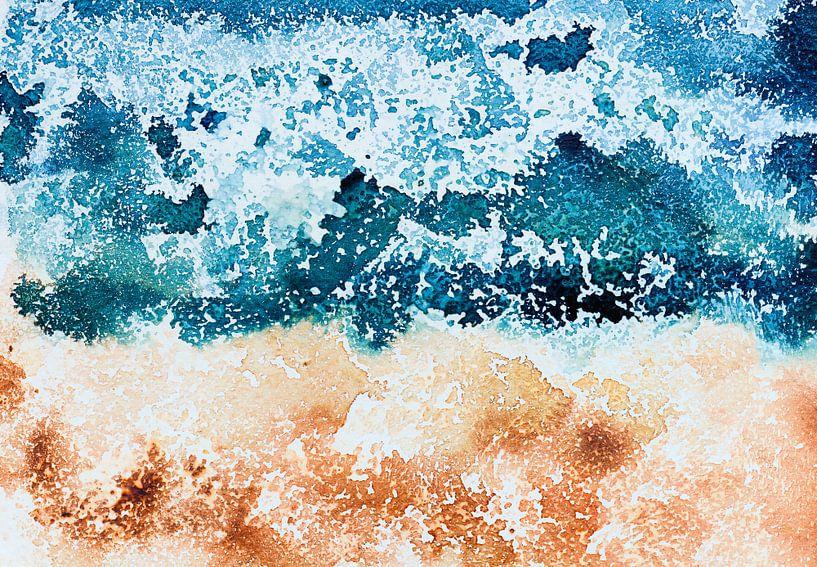 Where the ocean meets the sand van WatercolorWall