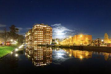 Leiden Roomburg reflectie met volle maan van