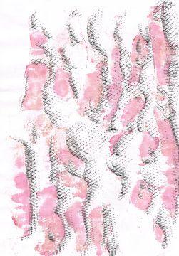 Golfjes van geluk in rose/rood van Ineke van Engelen
