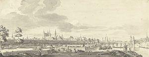 Blick auf die Fledermaus und die Maasbrücke in Maastricht, Jan de Beijer, 1713 - 1780.